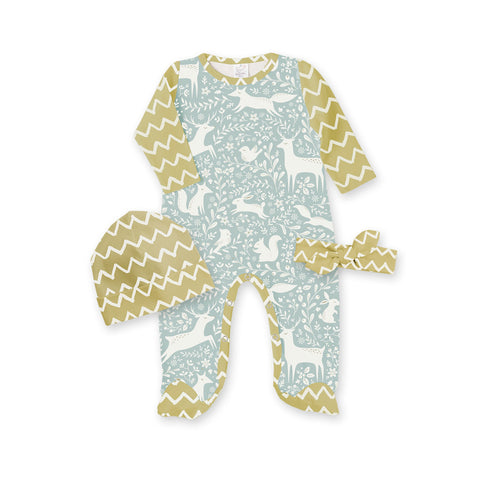 Woodland Whimsy & Zigzag Footed Romper with Headband and Beanie - Pieces Sold Separately