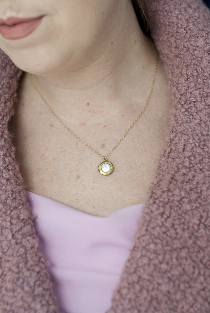 Mother Of Pearl Locket Necklace by Michelle Starbuck