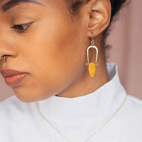 Yellow Jasper Amulet Earrings by Michelle Starbuck Designs