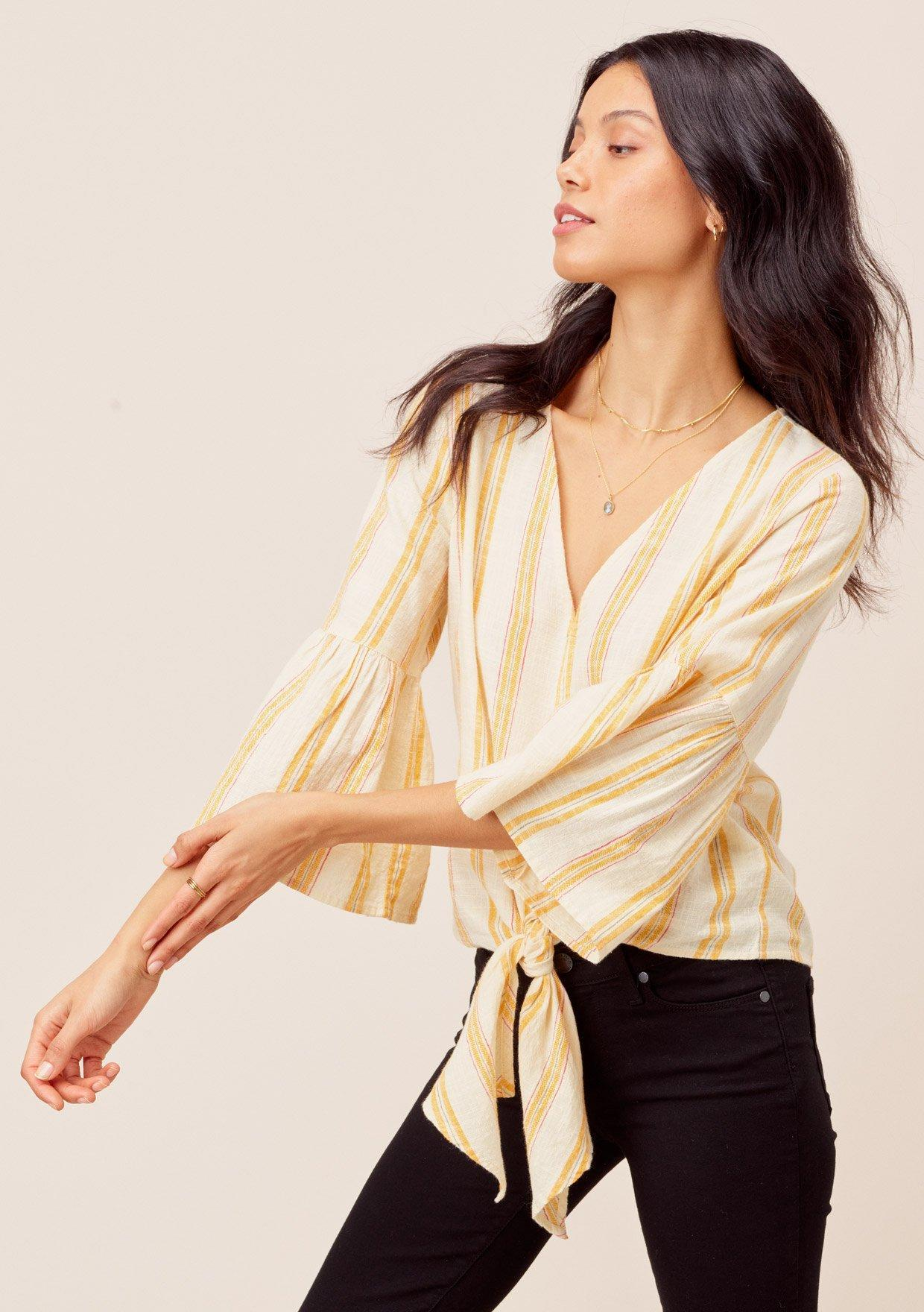 The Talullah Striped Tie Front Top
