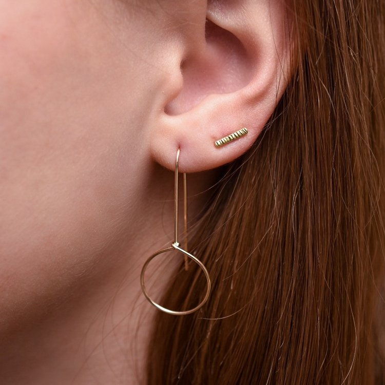 Brass Dash Stud Earrings by Goldeluxe