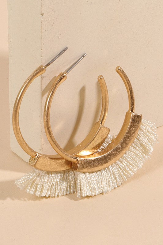 The Joho Open Hoop Fringe Earrings