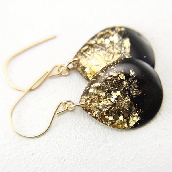 Black Gold Glitter Drop Earrings