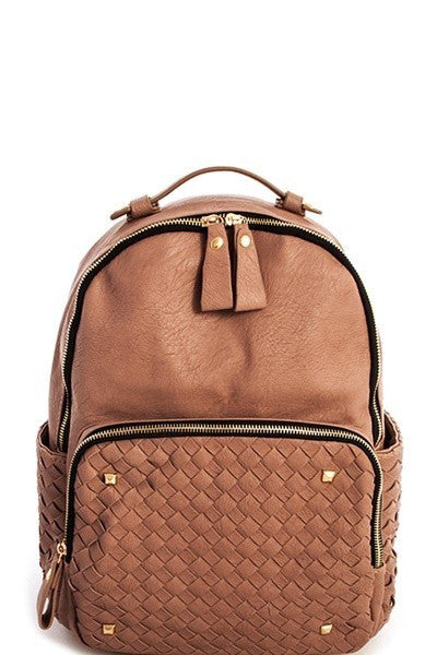 Woven Faux Leather Backpack