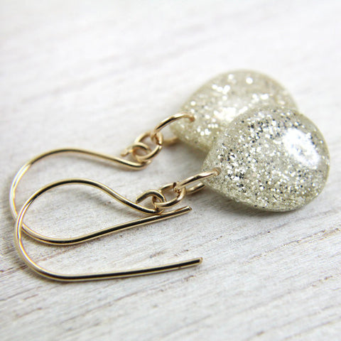 White Glitter Teardrop Earrings
