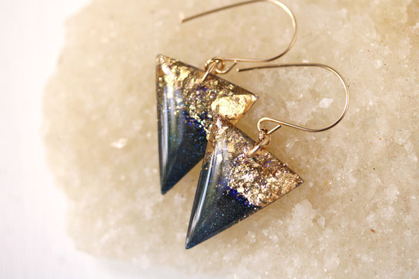 Black with Gold Leaf Triangle Drop Earrings