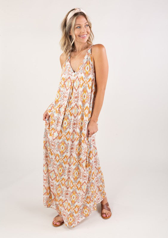 The Geo Racerback Maxi Dress with Pockets