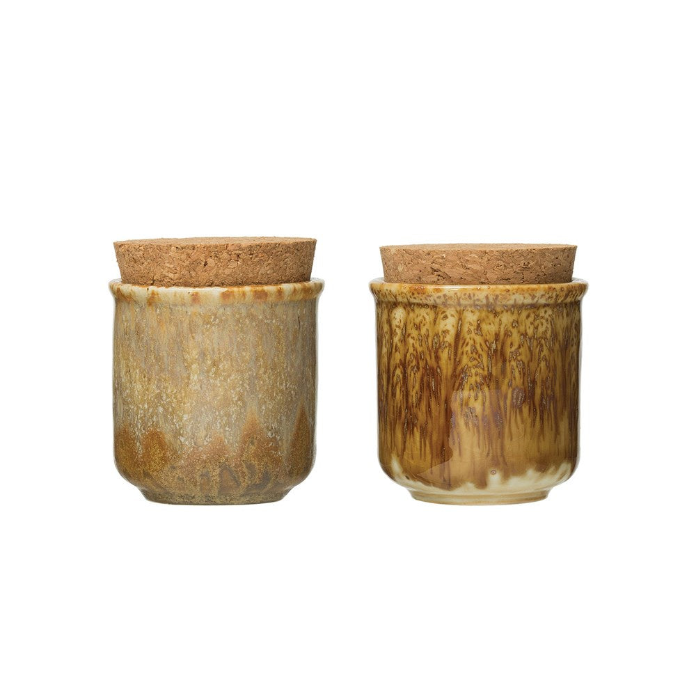 Saffron Mini Stoneware Jar with Cork Lid