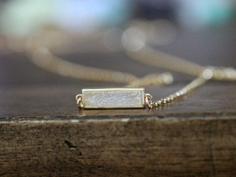Cottontail Druzy Baby Bar Necklace