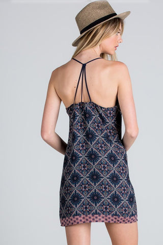 Mandala Print Strappy Back Dress