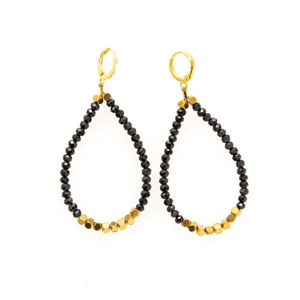 Crystal Hematite Loop Earrings by Ink+Alloy