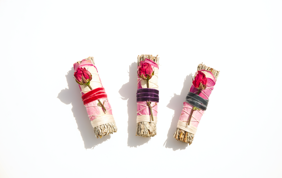 Blue Sage + Roses Smudge Stick by Black + Jane