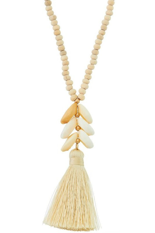 The Jenifer Wood Bead & Shell Necklace
