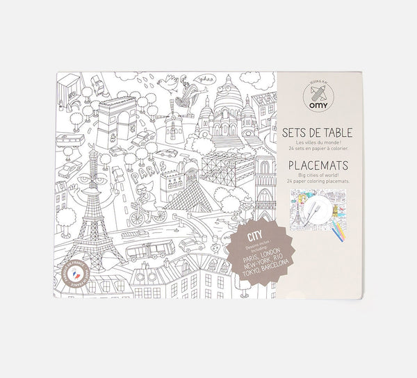 Paper Coloring Placemats - CITY