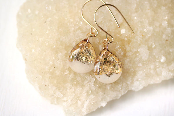 White and Gold Leaf Teardrop Earrings