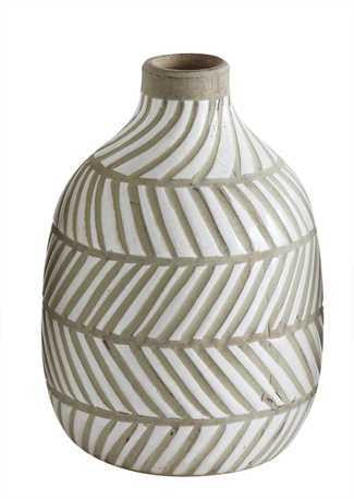 White Striped Terracotta Vase