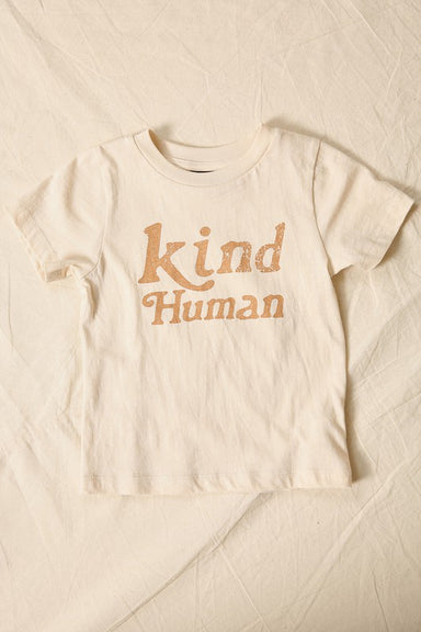 "kid's tee shirt, bone color with tan retro font which reads ""kind human"""