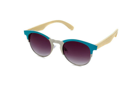 Sierra Metal and Wood Sunglasses by Blue Planet Recycled Eyewear - Turquoise