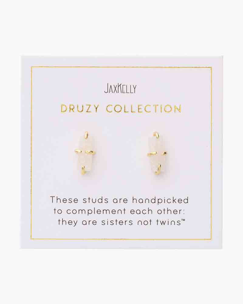 White Druzy Bar Stud by JaxKelly