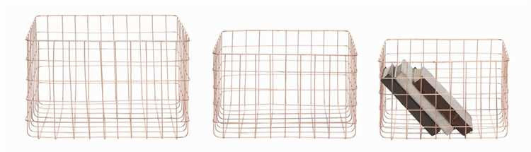 Rectangle Copper Wire Storage Baskets