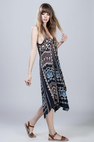 Printed v-neck Midi Dress.