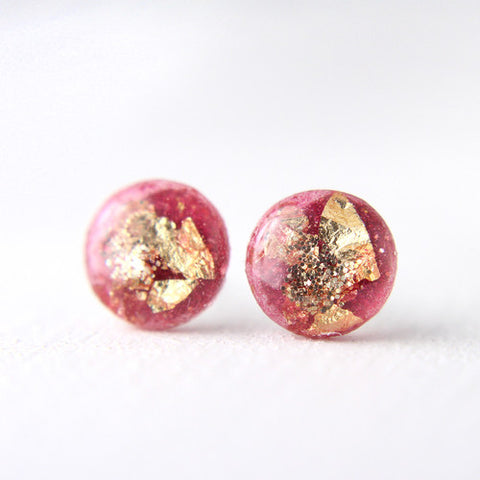 Pink and Gold Leaf Stud Earrings