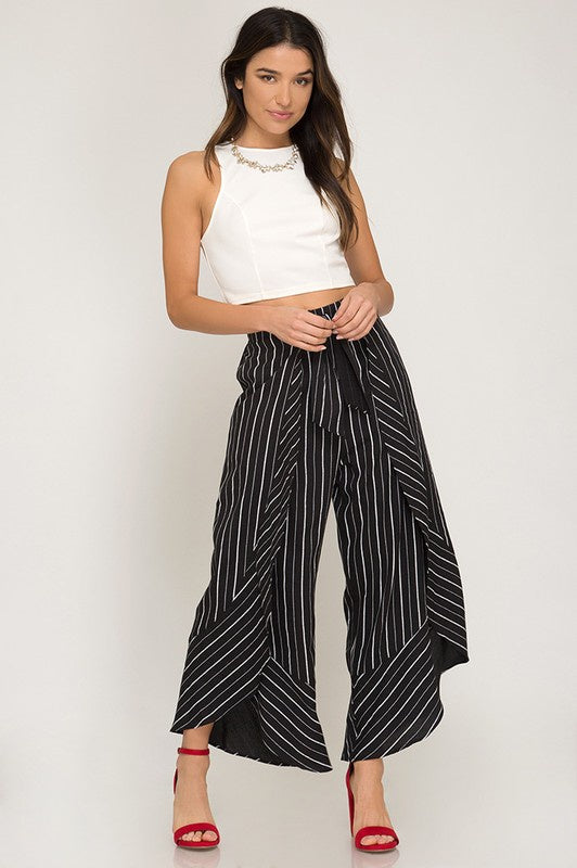 The Genesis Striped Open Panel Cropped Pants