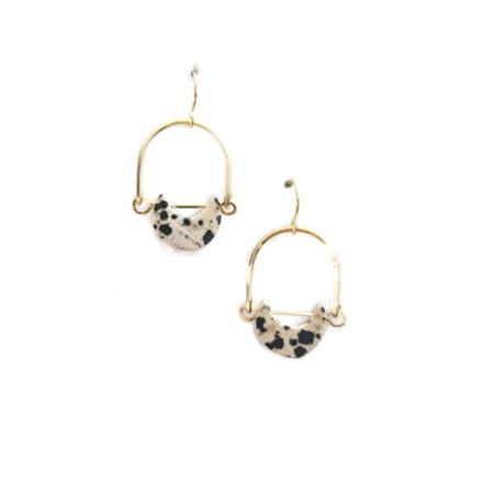 Dalmatian Jasper Mini Eclipse Earrings by Michelle Starbuck Designs