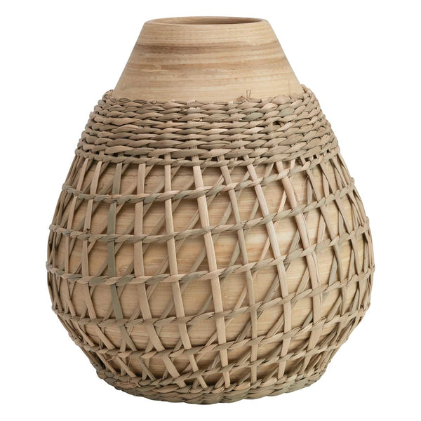 Bamboo Vase w/ Seagrass Weave