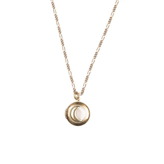 Blush Pearl Moon Locket Necklace by Michelle Starbuck Designs