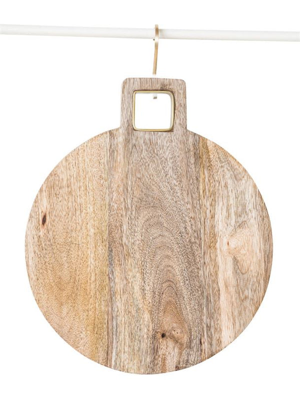 Mango Wood Cutting Board With Brass Trim Handle