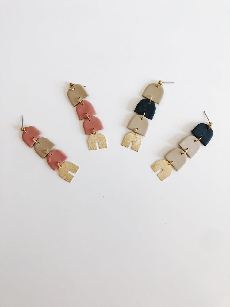 The Cricket Clay and Brass Earrings
