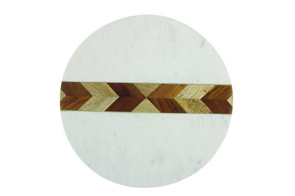 White Marble and Wood Mosaic Board