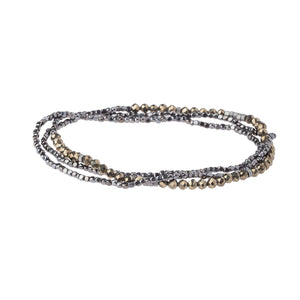 Positive Energy Pyrite Wrap Bracelet/Necklace