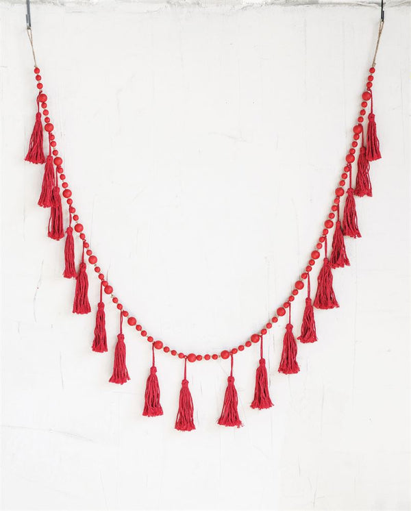 Paulowina Wood Bead Tassel Garland