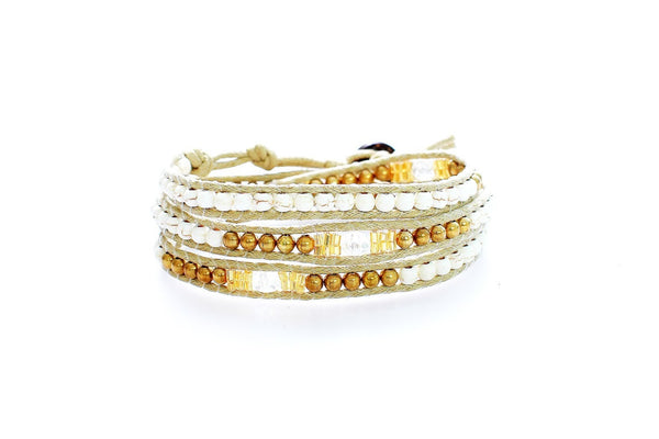 White and Gold Triple Wrap Beaded Bracelet