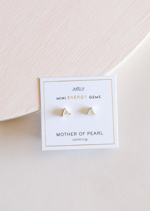 Mother of Pearl Mini Energy Gem Earrings by JaxKelly