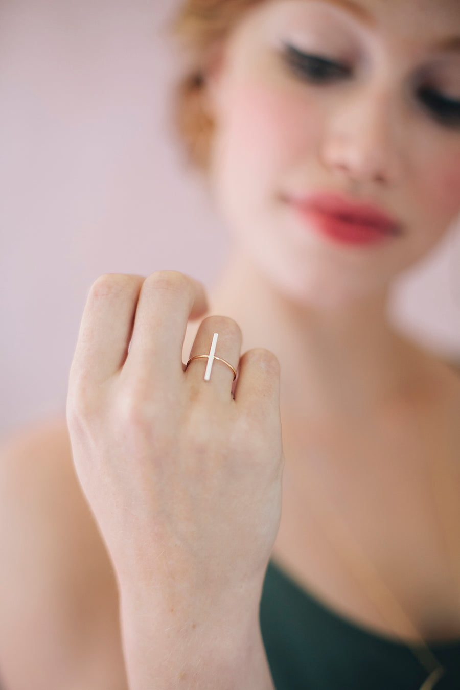 Stitch Bar Stacking Ring by Favor Jewelry