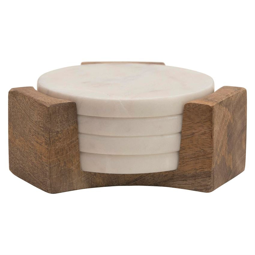 Round Marble Coasters with Mango Wood Holder