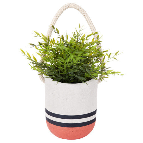 Large Hanging Plant Pot - Coral And Blue