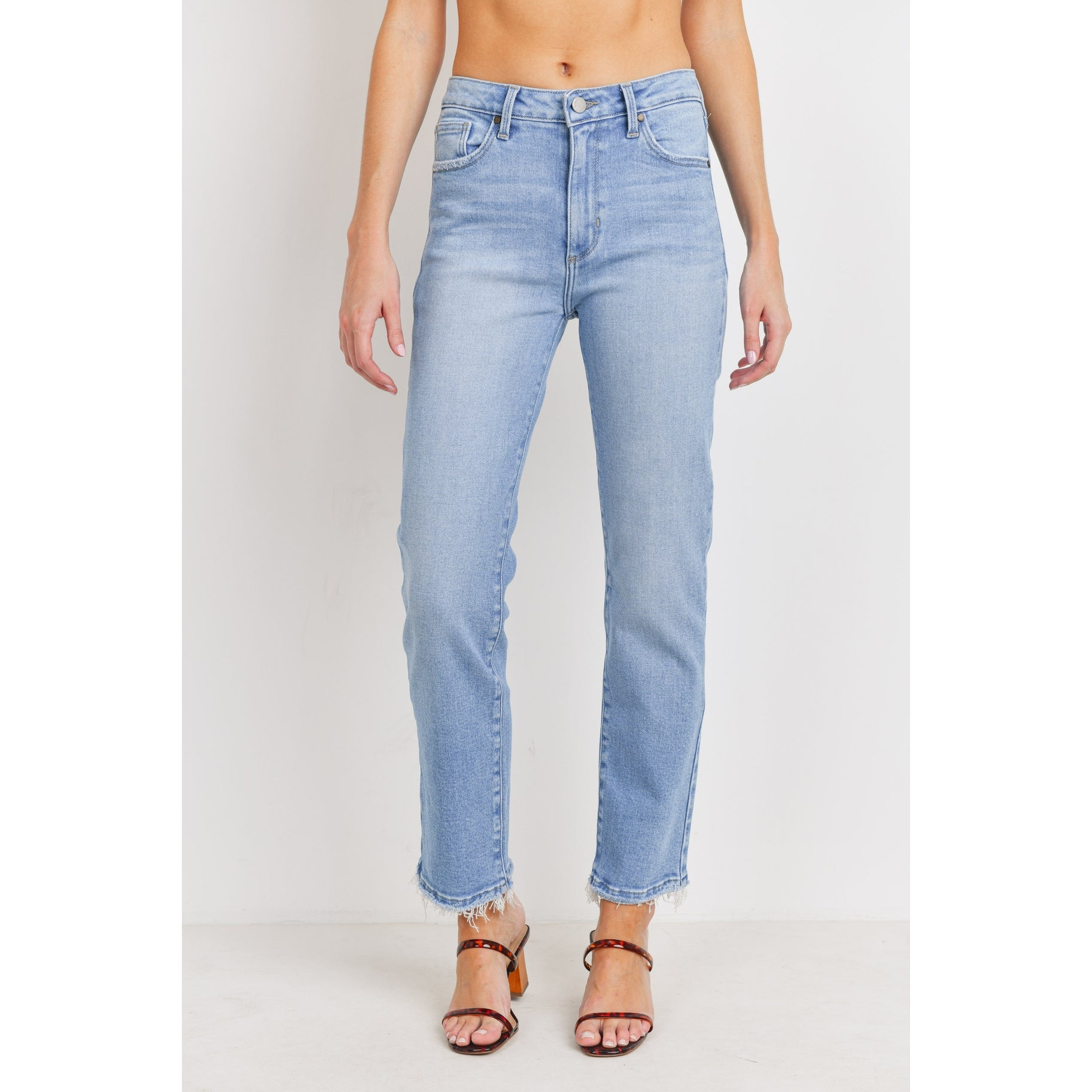 The Terri Clean High Rise Straight Leg Jeans by Just Black Denim - Light Wash