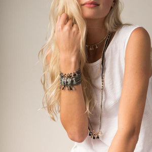 Ivory + Gold Metallic Tassel Wrap Bracelet/Necklace