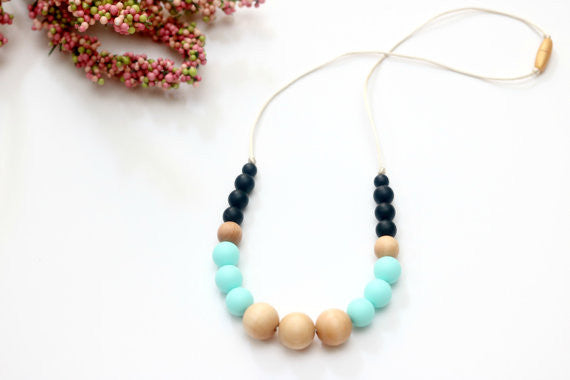 Caribbean and Black Teething Necklace with Wood Beads