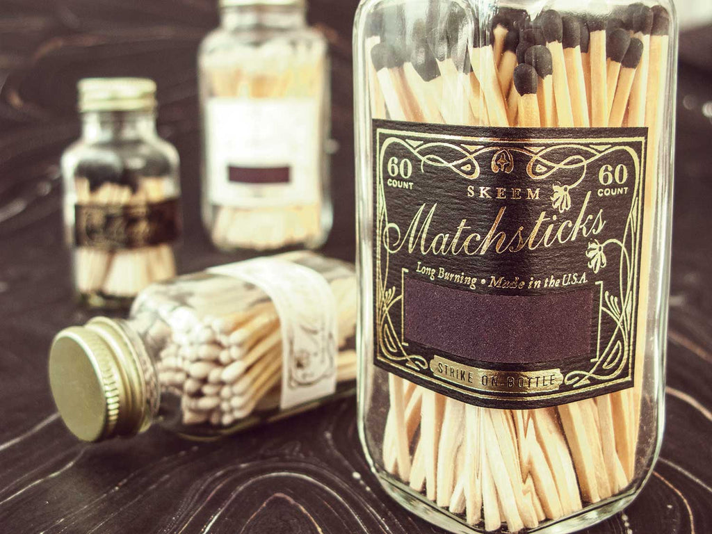 White Mini Vintage Match Bottle