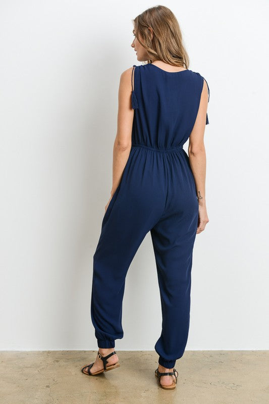 The Hudson Navy Jumpsuit with Tassels