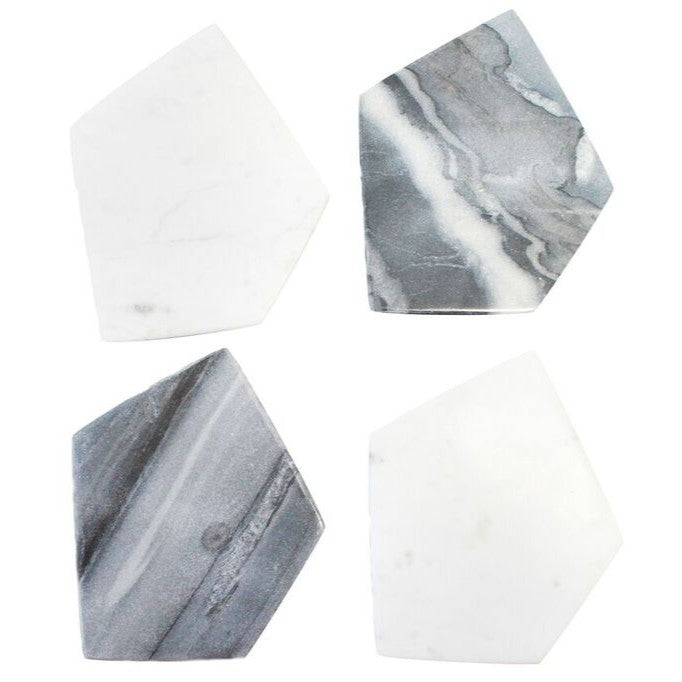 Marble Geometric Coaster Set