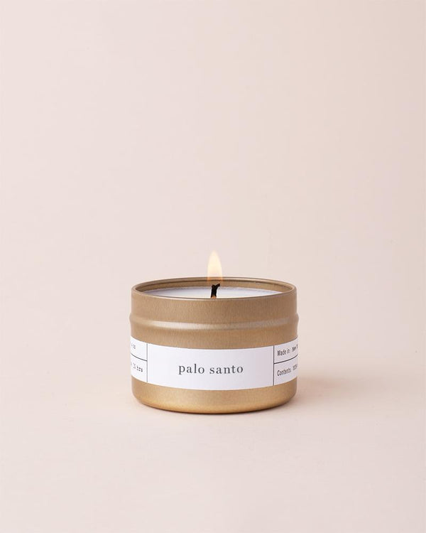The Palo Santo Gold Travel Candle by Brooklyn Candle Studio