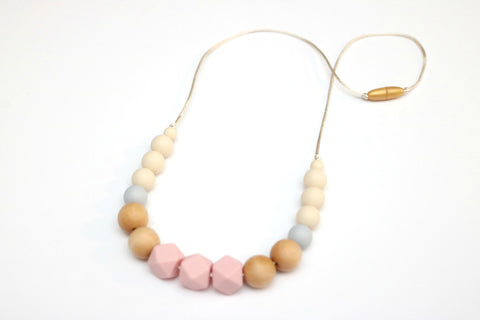 Rose and Glacier Geometric Teething Necklace with Wood Beads