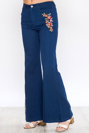 Liz Ultra Flare Embroidered Bell Bottoms