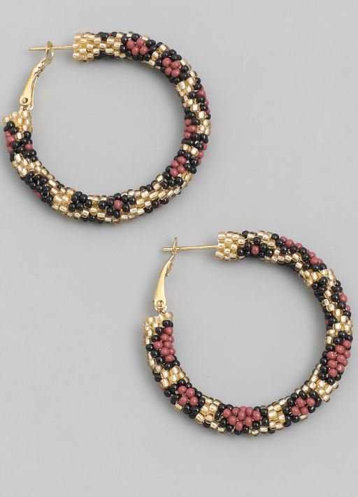 The Stevie Beaded Leopard Print Hoops